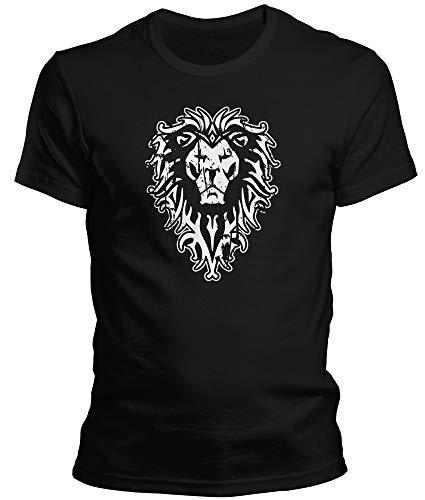 World of Warcraft Wow - Für die Allianz Löwe - Herren T-Shirt und Männer Tshirt, Größe:XL, Farbe:Schwarz