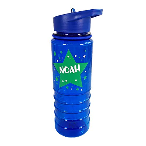 The Supreme Gift Company Personalised Plastic Drinks Water Bottle Kids GREEN STARS (800ML)(Blue)