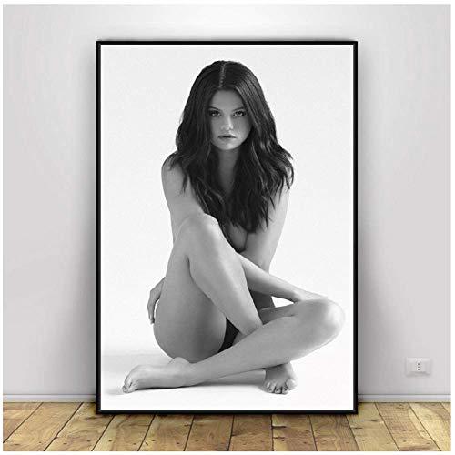 NRRTBWDHL Selena Gomez Sexiest Foto Schwarz Weiß Kunst Seide Stoff Poster Drucken Wandbilder Für Raumdekor Druck auf leinwand-50x75 cm Kein Rahmen