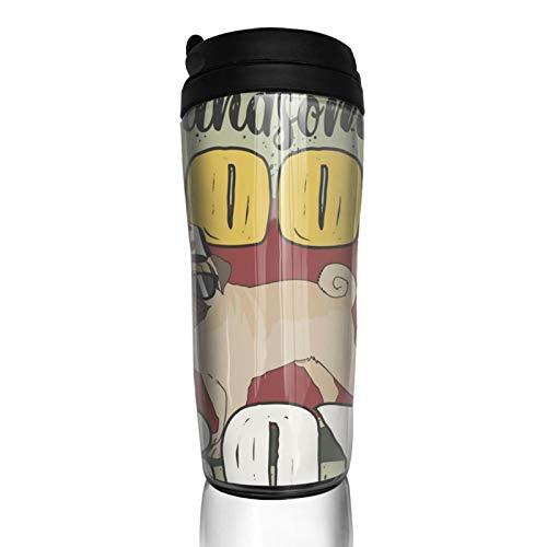 GCDT Taza de café con impresión 3D Guapo Cool Boy Dog Durable portátil taza de viaje con tapa abatible aislada al vacío Vasos para el hogar Oficina al aire libre Trabajos 350ml