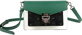 MCM Women's Patricia Green/Black Leather Small Crossbody Bag MWR9APA27BM001