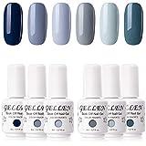 Gellen Gel Nail Polish Kit - 6 Colors The Cool Neutral Series Elegance Grays Tone, Popular Pigmented Nail Gel Shades Nail Art DIY Home Gel Manicure Set