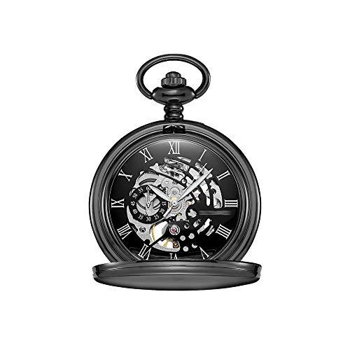 Reloj de Bolsillo Reloj de Bolsillo mecánico del Reloj de Bolsillo de la Vendimia Grabado Digital Carga Manual See-Through Volver Reloj de Bolsillo (Color : Black Shell Black Surface)