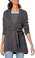 Amazon Essentials Women's Soft Cable Long Sleeve Open Front Longer Length Cardigan Sweater with Belt