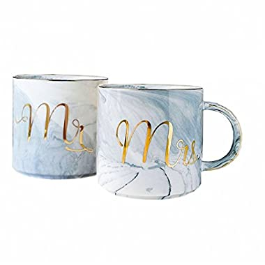 Mr and Mrs Mugs Set - Engagement Bridal Shower and Wedding Gifts - Anniversary Coffee Cups for Engaged Married Couples 2018 - Ceramic Marble Tumbler 11.5 oz (MR&MRS,set of 2)