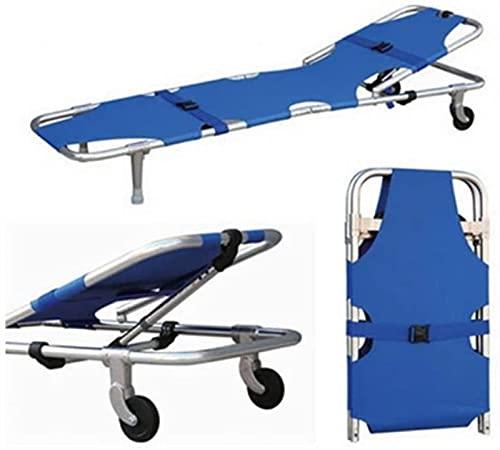 YYT Paciente Plegable Ligero Primeros Auxilios de Primeros Auxilios Rescuealuminio Médico Camilla de Cuatro Ruedas, Camilla de Rescate Plegable, Puede Llevar 200 kg, Azul