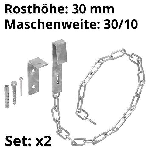 FeNau | Set: 2 Stk. | Gitterrostsicherung mit Sicherheitsketten Länge: 70cm/700mm und MW: 30/10 mm, S235JR, feuerverzinkt, Einbruch-Sicherung, Gitterrost-Befestigung