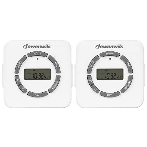 DEWENWILS Digital Outlet Timer Indoor, 7 Day 24 Hour Programmable Light Timer with 2 Grounded Outlets for Christmas Light Electrical Outlets, Grow Light/Aquarium, 1/2 HP, ETL Listed, Pack of 2