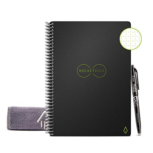 "Rocketbook Smart Reusable Notebook - Dot-Grid Eco-Friendly Notebook with 1 Pilot Frixion Pen & 1 Microfiber Cloth Included - Infinity Black Cover, Executive Size (6"" x 8.8"