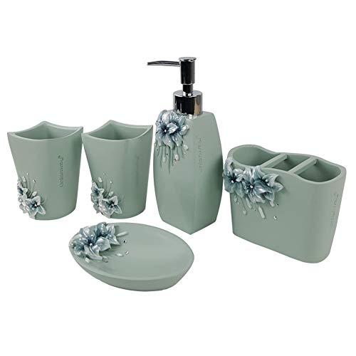 YYEWA set van 5 hars reliëf badkamer accessoires, inclusief vloeibare zeep of lotion dispenser, tandenborstel houder, zeepbak, Tumbler, Marokkaanse Trellis