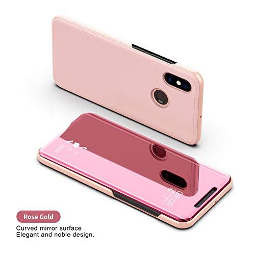 YUSHAZI Caja del teléfono móvil Clear View Smart Mirror Funda para teléfono para Xiaomi Redmi 5 Plus Note 5 5A 4X A1 A2 Fundas con Tapa para Xiaomi 8 6 6X Funda de Cuero