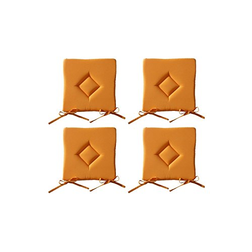 Lot de 4 Galettes de chaise à assise matelassée unie - Orange - 40x40x3.5cm - Today