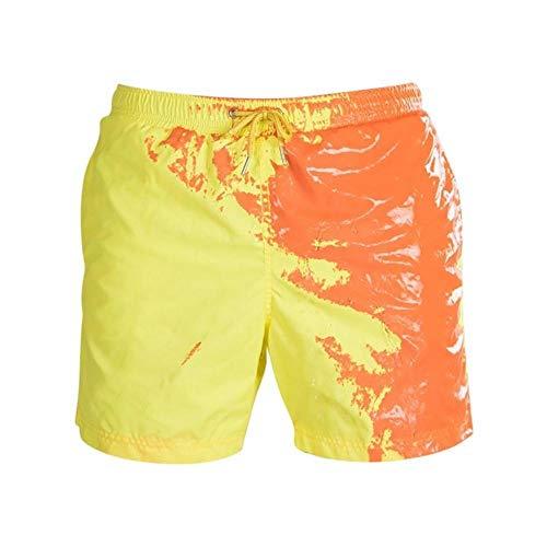 Pantalones cortos de playa unisex de verano, para playa, surf, sensible a la temperatura, cambia de color, pantalones cortos de playa, pantalones cortos de playa (color: amarillo, talla: XXXL)