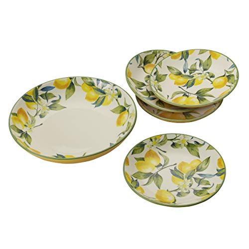 Mikasa 5225077 Classico 5-Piece Pasta Serving Individual Bowl Set, Lemon Yellow