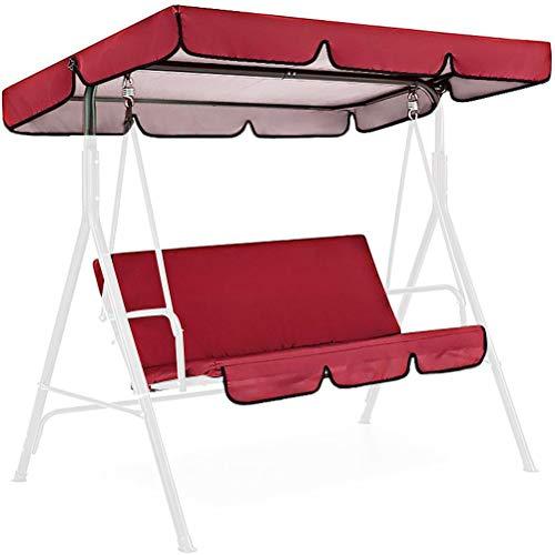 Kagodri Cojín para banco de hamaca de jardín de 3 plazas, cojín de columpio para patio al aire libre, asiento acolchado para columpios de jardín, cubierta impermeable, suave y cómodo, rojo