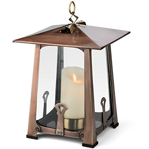 H Potter Craftsman Outdoor Decorative Candle Lantern Holder for Indoor Table Top Patio Deck