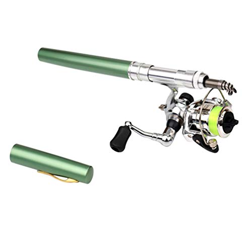 Heheja Fishing Rod Portable Telescopic Stift Angelrute mit Angelrolle Ideal for Fishing from a Boat (Grün)