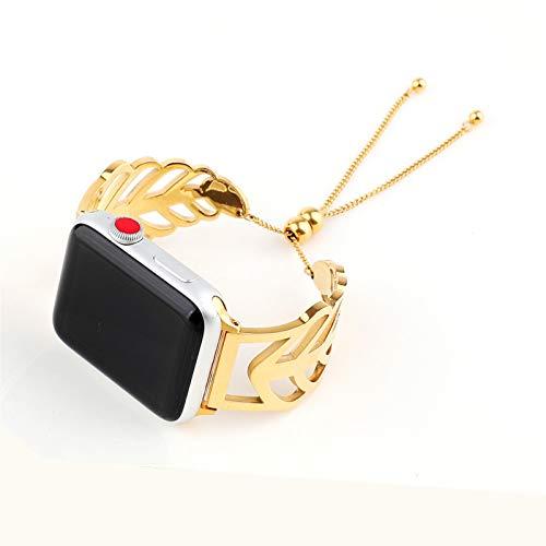 Correa de Repuesto Compatible para Apple Watch Band 38 mm 40 mm 42 mm 44 mm Forma de Hoja Hollow out Acero Inoxidable Correa Joyería Brazalete para Apple Watch SE/6/5/4/3/2/1,Oro,44mm
