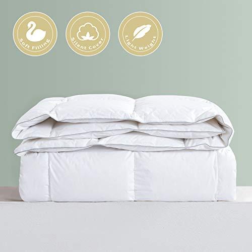 HOMBYS Lightweight Goose Down Comforter King Size Duvet Insert 100% Ultra Silent Cotton Shell 37 OZ Fill Weight for Summer...