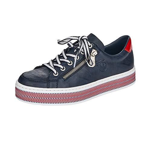 Rieker L89C1 - Zapatillas bajas para mujer, con cordones, suela con plataforma, color Azul, talla 36 EU