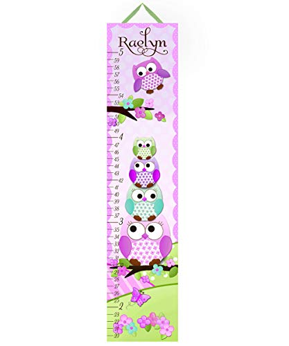 Canvas Growth Chart Stacked Owls in Purples and Teal Girls Kids Bedroom Baby Nursery Wall Art GC0142