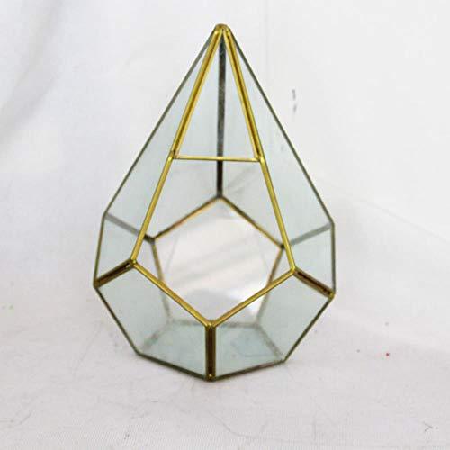 Prisma glas geometrische kleine doos glazen vaas onregelmatig koper handgemaakt voor vetplanten Fern Moss bloempot, goud