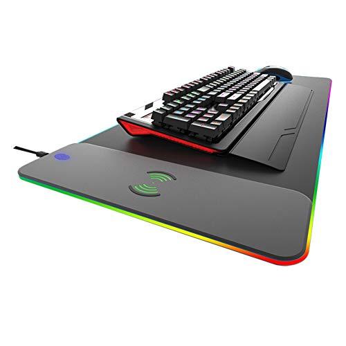 Fast Wireless Aufladen Mouse Pad, Qi 3 In 1 Mat,5w 7.5w Und Die 10w Mat Mit Led-licht, Verlängert Weich Gaming-mauspad Drahtloses Ladegerät Für Iphone X Iphone 8 Galaxy S8 S-schwarz 80x30cm(31x12inch)