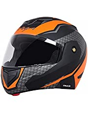 Vega Crux Flip Up Helmet, Black And Orange ( Large 57 Cms - 59.5 Cms ) (Clear Visor)