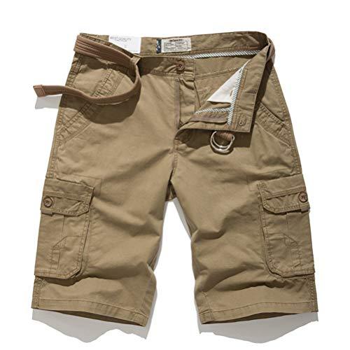 Feidaeu Pantalones Cortos Ocasionales de los Hombres Múltiples Bolsillos Sueltos y cómodos Botones Sin cinturón Reúne el Mono Todos los días Cinco Pantalones