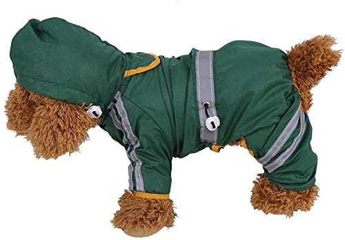 Pet Regenjas, waterdichte jas Coat Hond Kat Hood Rain Reflective Jumpsuit Apparel (Groen XS) (Color : Green M)