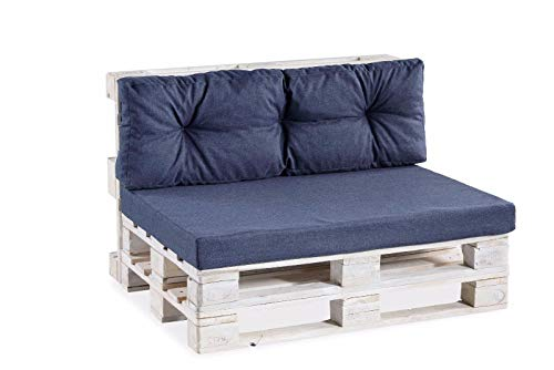 Palettenkissen Palettenauflagen Sitzkissen Rückenlehne glatt gesteppt PPF (Sitzkissen glatt 120x60, Dunkelblau)