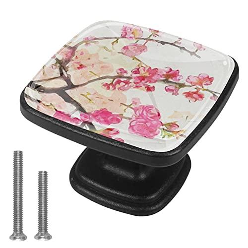 Tiradores de armario 4 piezas para cajones de tocadorFlor China Classical Pintura Plum Blossom Perilla de la puerta de cristal