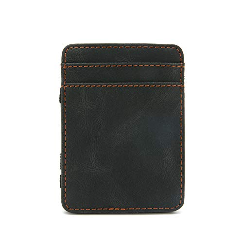 Leather Wallet for Men, Slim Money Clip, Front Pocket Wallets with Id Window, Bifold Minimalist Credit Card Holder with Gift Box (Black)
