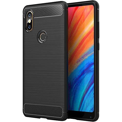 ebestStar - Funda Compatible con Xiaomi Mi Mix 2S Carcasa Silicona Gel, Protección Diseño Fibra Carbono Premium Ultra Slim Case, Negro [Aparato: 150.9 x 74.9 x 8.1mm, 5.99'']
