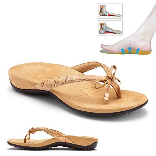 LWWOZL Chancletas Mujer Ortopédicas Playa Sandalia con Apoyo del Arco, Chanclas Planas Informales de Verano Playa Antideslizante Respirable Viaje Zapato 2020D-39
