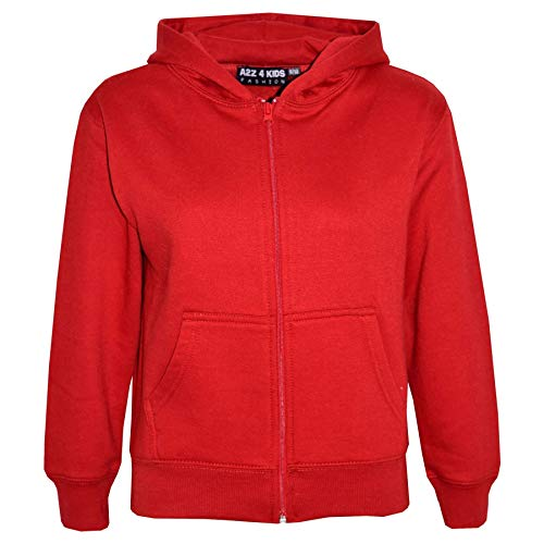 A2Z 4 Kids Veste à capuche en molleton uni avec fermeture éclair Unisexe 5-13 ans - rouge - 11-12 ans