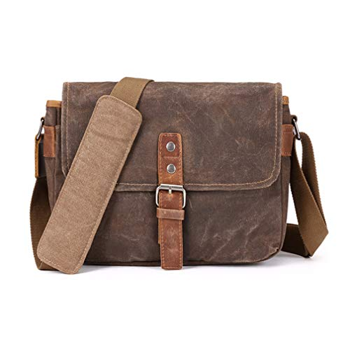 Vianber SLR Camera Tas, Waterdichte Wax Canvas Bag Vintage Camera Case Messenger Tas met tussenlaag Pad
