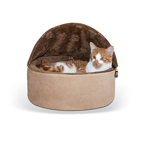 K&H Pet Products Self-Warming Kitty Bed Hooded Pet Bed for Cats or Dogs Chocolate/Tan Small 16 Inches