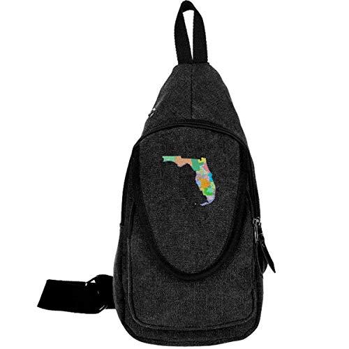 Florida State Map Rucksack aus Canvas für Trekking-Rucksack, lässiger Rucksack, für Mädchen, Schwarz
