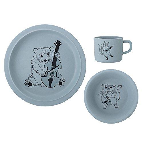 Set de vaisselle pour enfant Carl, Bloomingville, Bleu, Bambou