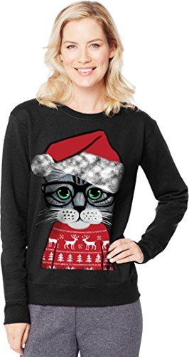 Hanes Women's Ugly Christmas Sweatshirt, Black My Cat Sweater, S