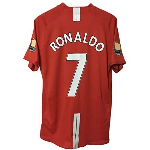 YANDDN 08.07 Retro Jersey No.7 Ronaldo No.10 Rooney No.11 Giggs Langarm Fußball-Hemd mit klassischen Stickerei S