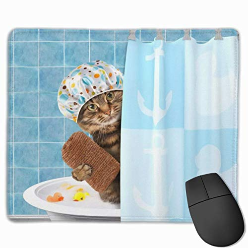 Gaming Mouse Pad Funny Bathing Cat with Towel Duck Toys in Bathtub Decorative Mousepad Mat Rubber Base Home Decor for Computer Laptop Home Office Game DeskGift for Wen Women