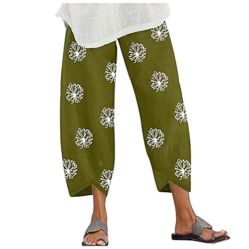 VCAOKF Pantalones elásticos para mujer, de algodón, sueltos, con bolsillos, para verano, de pernera ancha, sueltos y de lino verde XXL
