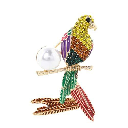 SSMDYLYM Color Perla Broche Loro, Las señoras de la aleación de la Broche de Vestido Elegante de la decoración del Bolso de Accesorios Pin