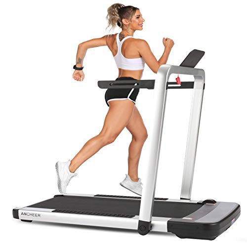ANCHEER 2-in-1 Folding Treadmill AMA0058, 2.25HP Portable Under Desk Treadmill with APP, Remote Control, and LED Display, Installation-Free,Best Compact Treadmill for Home Gym Office Use