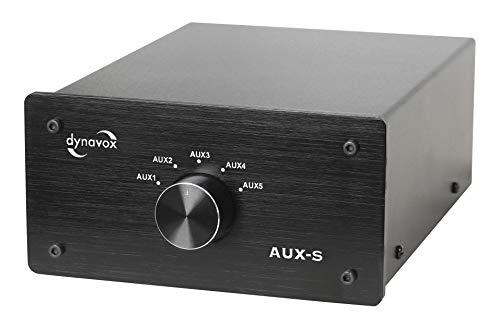 Dynavox AUX-S - Commutatore di prolunga in ingresso in metallo con 5 ingressi RCA, per amplificatori stereo e surround, colore: Nero