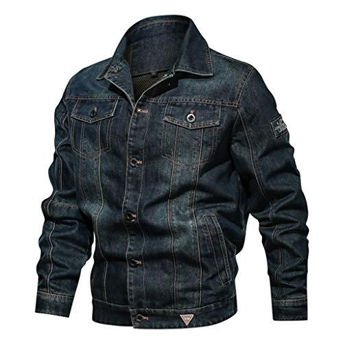 KPILP Herren Jeansjacke Feldjacke Freizeitjacke Vintage Herbst Winter Jacke Casual Sweatjacke Slim Fit Outwear Mantel mit Multi Taschen Große Größe