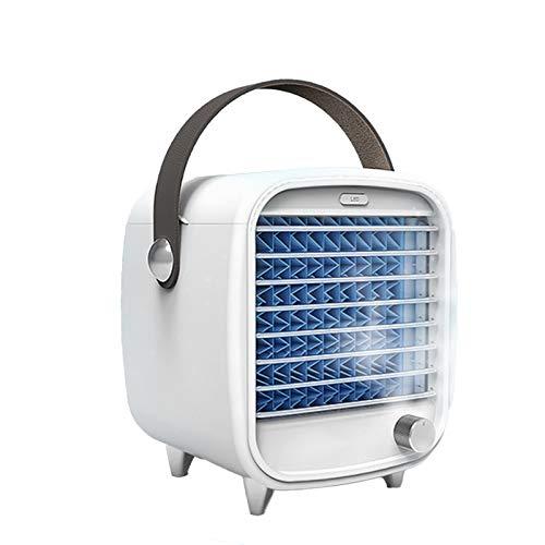 Yagosodee Ventilador de aire acondicionado de velocidad sin escalones de escritorio USB portátil con bandeja de hielo cortina húmeda para oficina en casa