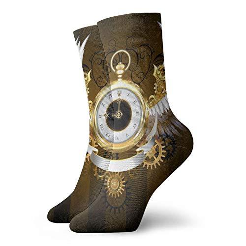 Calcetines, reloj dorado con alas blancas, calcetines atléticos, calcetines casuales de poliéster, calcetines de tubo tripulación de 11.8 pulgadas para hombre y mujer